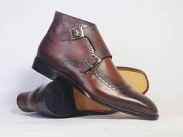 Handmade Bespoke Double Monk Ankle Boots For Men's - $159.97 - $179.97
