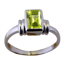 Natural Peridot Gemstones Silver Rings For Women Rectangle Shape Jewelry... - $15.44