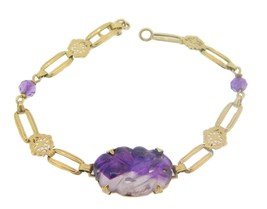 Art Deco 14k Carved Genuine Natural Amethyst Bracelet (#J3894) - $522.50