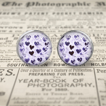 Purple Watercolor Hearts Earrings  - $17.95