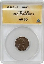1951-D 1c ANACS AU50 BN - Lincoln Cent - $82.45