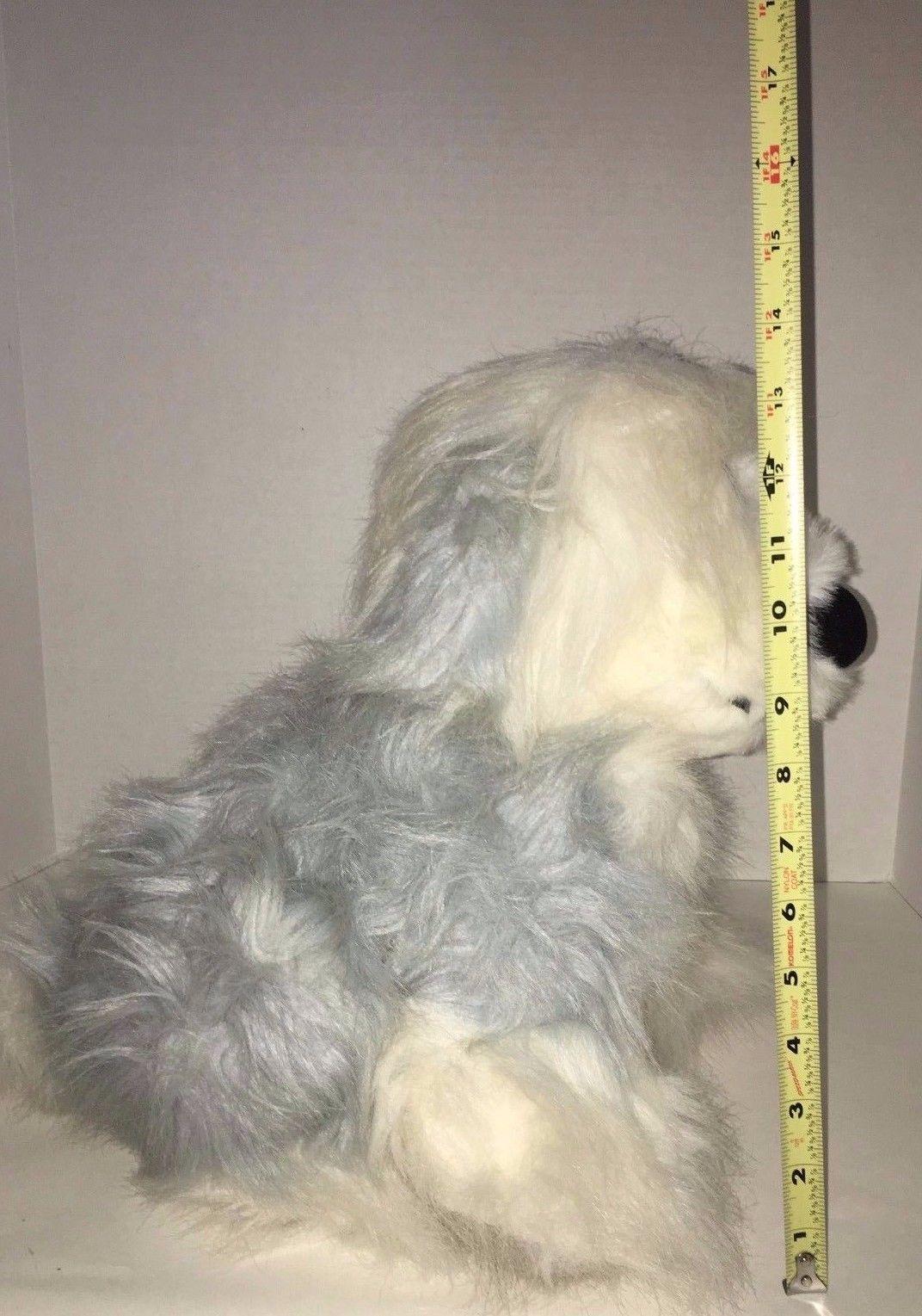 "Disney Little Mermaid Max Dog Plush 14"" Old English Sheep Dog Shaggy gray"
