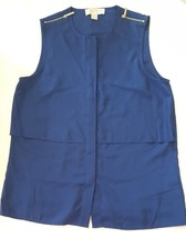 Michael Kors Sleeveless Zipper Trim Blouse Shirt Top Blue Navy M Medium - $23.99