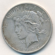1927-D PEACE SILVER DOLLAR-VERY NICE CIRCULATED DOLLAR-SEMI KEY DATE-SHI... - $32.95