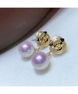 Beautiful quality Akoya pearl stud drop earring women 18K gold  Christmas  - $389.99