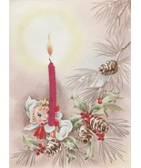 Vintage Christmas Card Elf with Chenille Candle Grinnell Art Publishers - $9.89