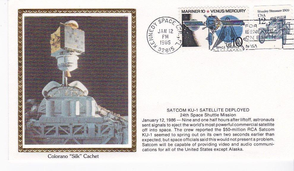 SATCOM KU-1 SATELLITE DEPLOYED KENNEDY SPACE CENTER FL JAN 12 1986 COLORANO SILK