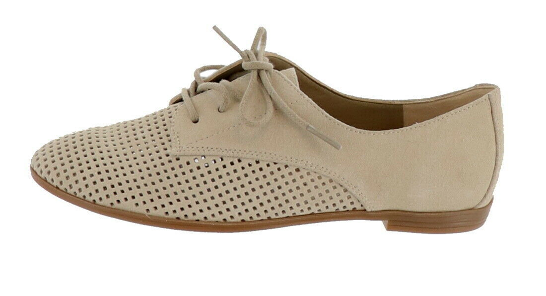 Isaac Mizrahi Perforated Leather Suede Oxfords Camel 6M NEW A273204 - $73.63 CAD
