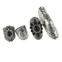 Find Me 2019 fashion Gypsy 4pcs/Set Vintage Punk Rings Unique Carved Ant... - $12.70