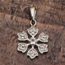 Flower Design White Cubic Zircon 925 Sterling Silver Nature Love Tiny Pe... - $13.33