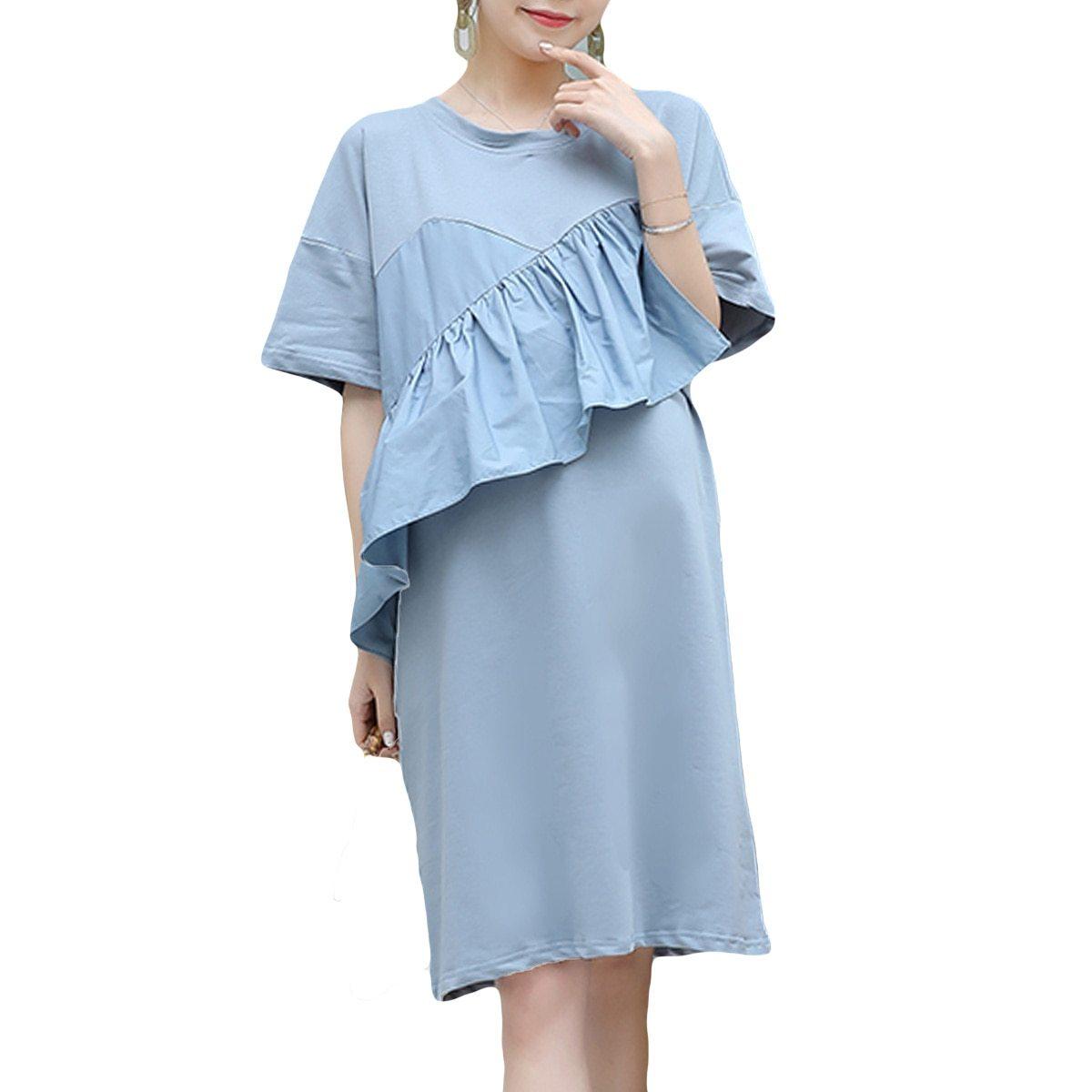 Maternity Dress Solid Color Ruffled Short Sleeve Fashion Knee Length Dress
