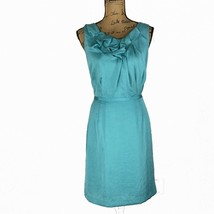 Ann Taylor LOFT 10 Large Dress Green Blue Hammered Gather Front Sheath P... - $19.95