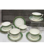 Set of 5 Royal Worcester Regency Green Cups and 7 Saucers - $41.58