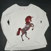 Justice Unicorn Sweater Girls Size 14/16 Flip Sequin Snuggly Chenille Cr... - $19.75