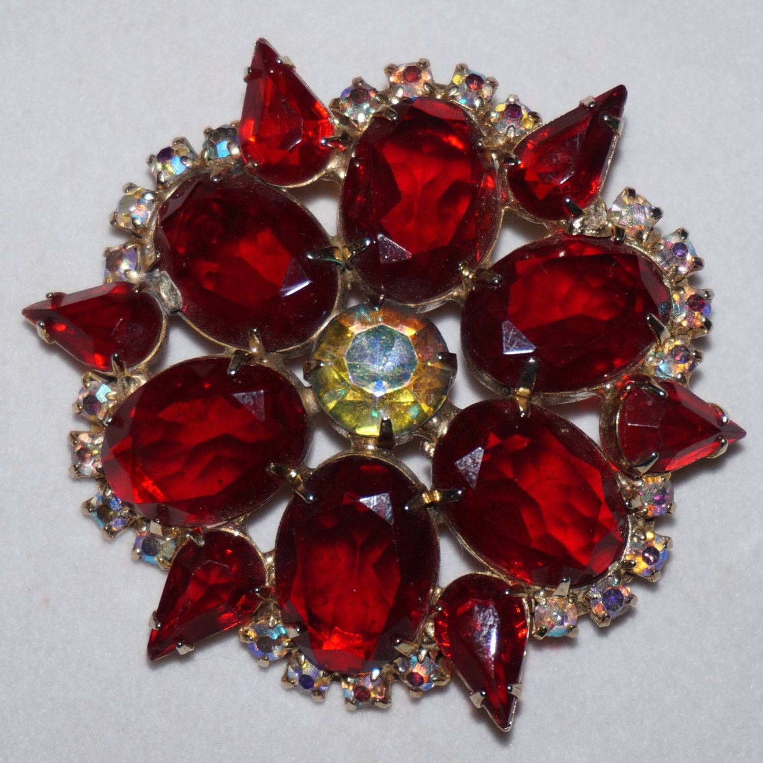 Primary image for High End Vintage Red Rhinestone Brooch Pin Prong Set Foiled Unfoiled Stones