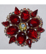 High End Vintage Red Rhinestone Brooch Pin Prong Set Foiled Unfoiled Stones - $78.39