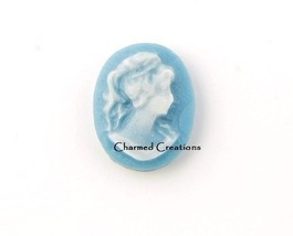 Blue Cameo Raised Portrait Picture Resin Floating Charm For Lockets - $2.96