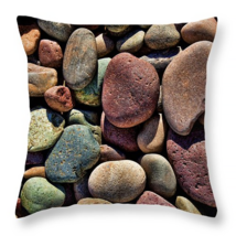 River Rocks, Throw Pillow, fine art, seat cushion, accent, colorful stones - $41.99+