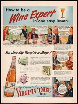 Vintage magazine ad VIRGINIA DARE WINE from 1942 bottle and cartoon pict... - $12.99