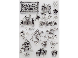 """Acrylic Stamp Set, """"Trim the Tree"""", Includes Full Size Black Ink Stamp Pad"""
