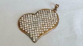 "VINTAGE GOLDTONE FAUX DIAMOND RHINESTONE STATEMENT HEART PENDANT, 3""WIDE... - $4.94"