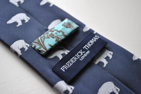 Frederick Thomas Navy Blue Mens Tie with polar bear pattern FT1519 RRP £19.99