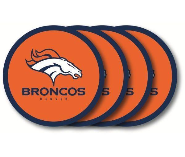 DENVER BRONCOS 4 PACK HEAVY DUTY VINYL DRINK COASTER SET NFL FOOTBALL