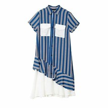 Autumn Casual Turn-Down Collar Short Sleeve Solid Loose Mid Calf Dress F... - $43.97