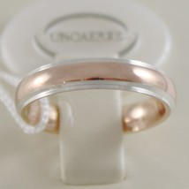 18K ROSE & WHITE GOLD WEDDING BAND UNOAERRE COMFORT RING 4 MM, MADE IN ITALY image 1