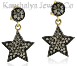 Victorian 1.80ct Rose Cut Diamond Star Shape Stud Elegant Wedding Earrings - $238.43