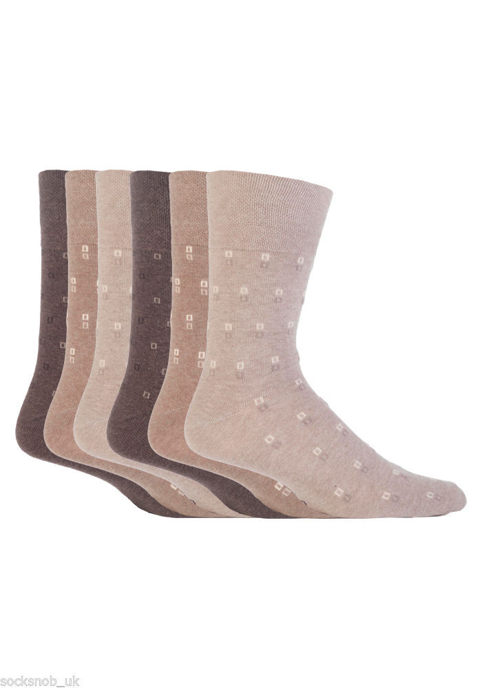 6 Pairs Mens Gentle Grip Socks Size 6-11 Uk, 39-45 Eur MGG47 Beige Brown Squares