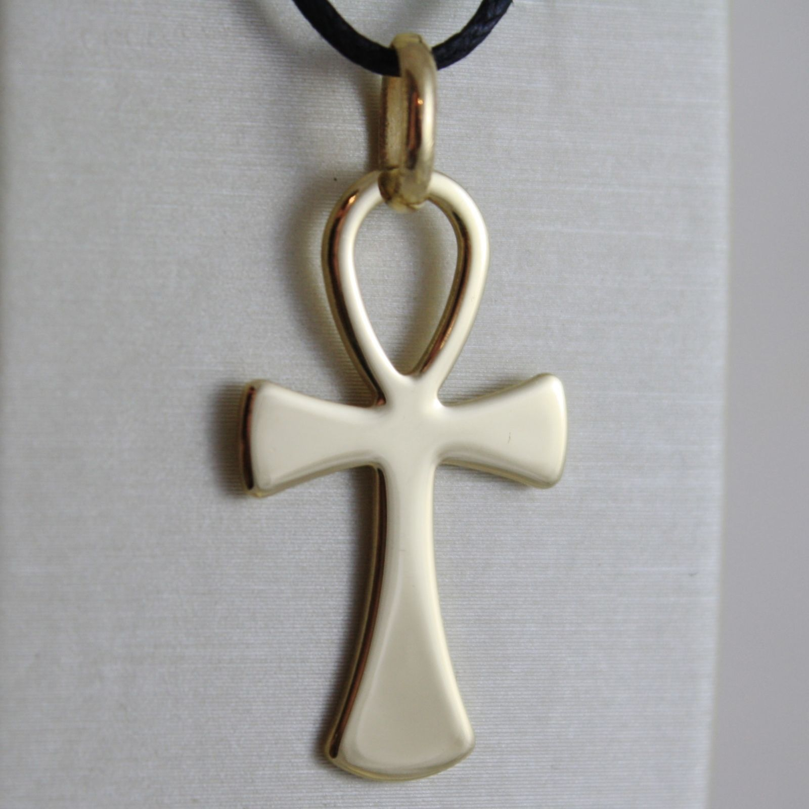 CROIX CLÉ DE VITA, ANKH, OR JAUNE 750 18K, PLATE, SOLIDE, MADE IN ITALY