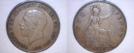 1928 One Penny World Coin - Great Britain - UK - England - $4.99