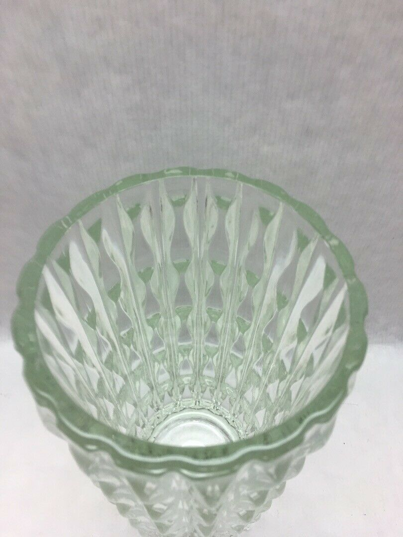 Glass crystal Vase 9 in  Hollywood Regency Wave Cut MCM Mid Century