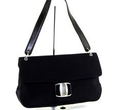 Authentic Salvatore Ferragamo VARA Shoulder Bag Navy Canvas & Leather EE... - $147.51
