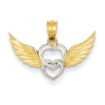 14K GOLD TWO TONE POLISHED DIAMOND-CUT DOUBLE H... - $60.19