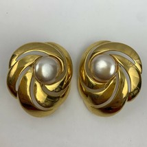 Napier Big Faux Pearl Shiny Gold Tone Adjustable Clip On Earrings Vintag... - $9.61