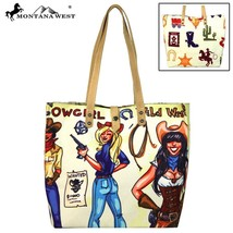 Montana West western Cowgirl horses dual side print canvas & leather Tote bag - $49.99