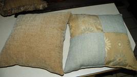 Pair of Blue Beige Flower Patchwork Decorative Print Throw Pillows  16 x 16 - $49.95