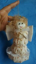 Vintage Fabric Angel W/ Wings Christmas Tree Ornament Decoration Pre-own... - $12.16