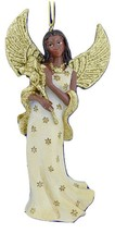 Kurt Adler Resin African American IVORY/GOLD Angel w/FLOWERS Christmas Ornament - $12.88