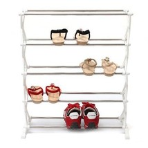 5 Tier 12 Pair Stackable Shoe Rack Storage Organizer Space Saving Shelf ... - $14.56