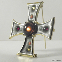 liquid jewel green enamel maltese iron cross brooch and pendant 4126 - $39.00