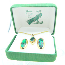 VTG Gold Tone Genuine Emerald Paua Shell Necklace Earring Set - $29.70