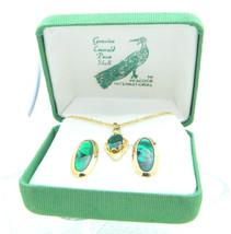 VTG Gold Tone Genuine Emerald Paua Shell Necklace Earring Set - $29.70