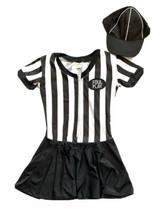 Referee Costume Women M Striped Dress Zip Up Top Foul Play Sexy Halloween - $24.74