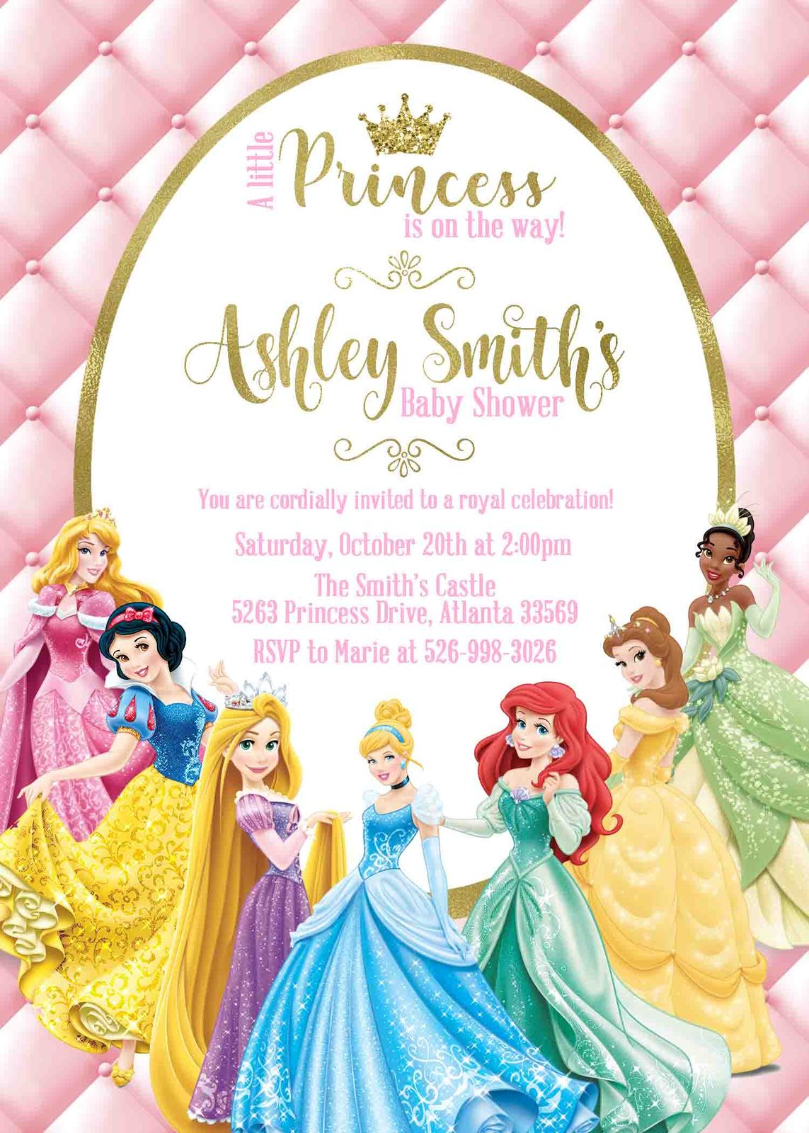 Princess Baby Shower Invitation Disney And 50 Similar Items