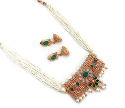 Indian Ethnic Bollywood Gold Plated Rhinestone Pearl Bridal Jewelry NecklaceSet1 - $18.99