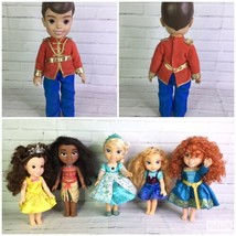 Disney Princess Tollytots Toddler Dolls Lot Belle Moana Elsa Anna Merida... - $71.53