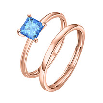 8mm Princess Cut Solitaire Blue Topaz 14k  Rose Gold Wedding Bridal Ring - $73.09